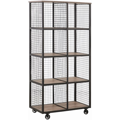 Coaster Accent Cabinets Industrial Steel Bookcase with Casters and Wood Shelves