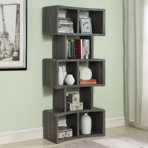 Coaster Accent Cabinets Contemporary Bookcase with Curved Design and 8 Shelves