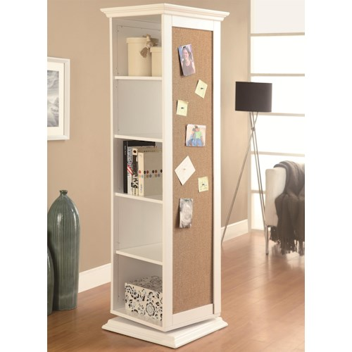 Coaster Accent Cabinets White Swivel Storage Cabinet with Cork Board