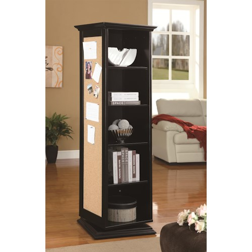 Coaster Accent Cabinets Swivel Cabinet with Storage Shelves, Cork Board, and Mirror