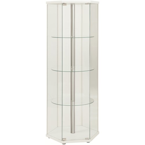 Coaster Accent Cabinets Hexagon Shaped Curio Cabinet