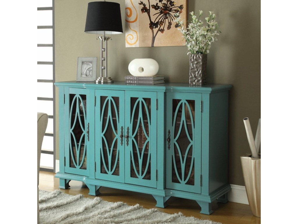 Accent cabinet with glass doors - Coaster Accent Cabinets Large Teal Cabinet With 4 Glass Doors Del Sol Furniture Accent Chests