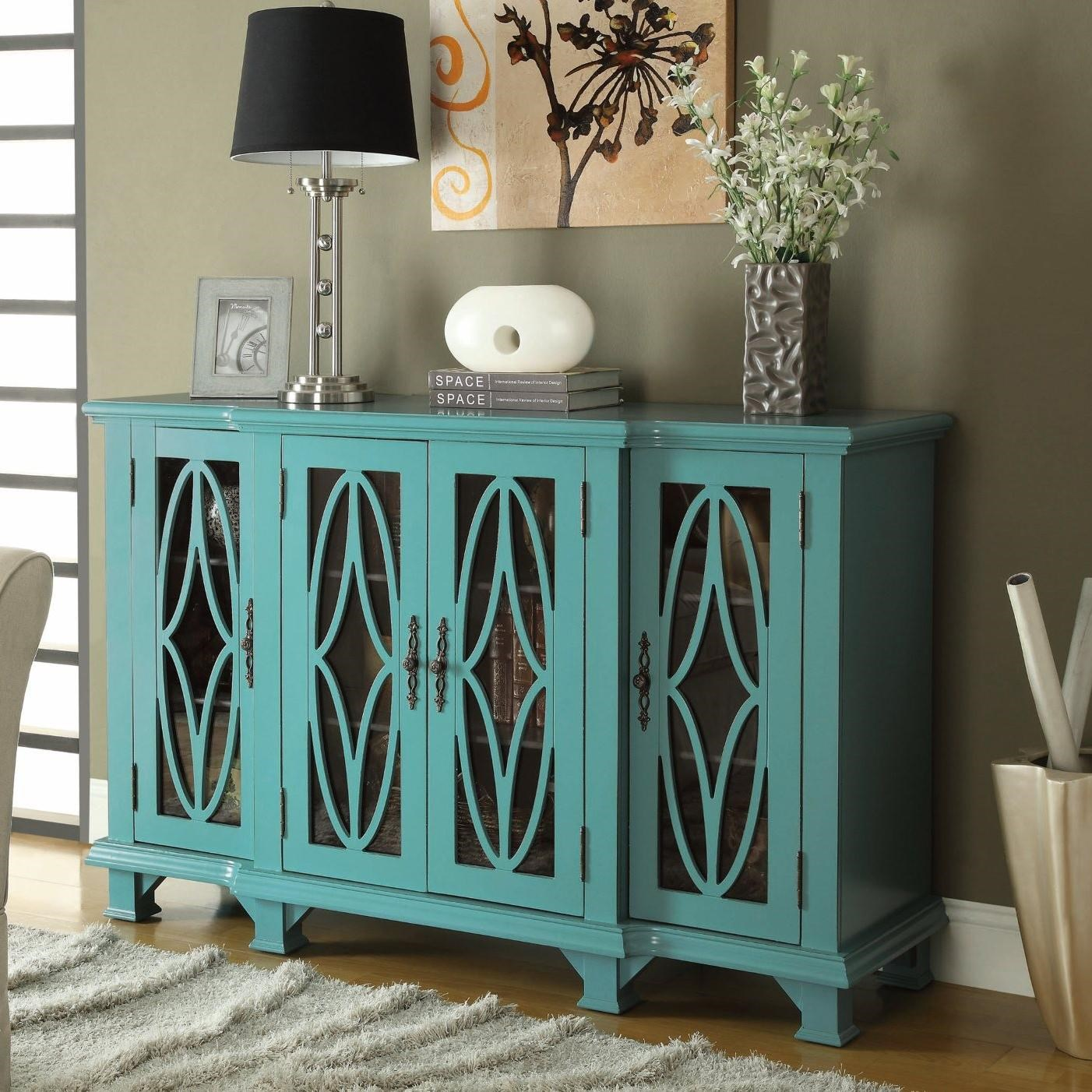 Coaster Accent Cabinets Large Teal Cabinet With 4 Glass Doors