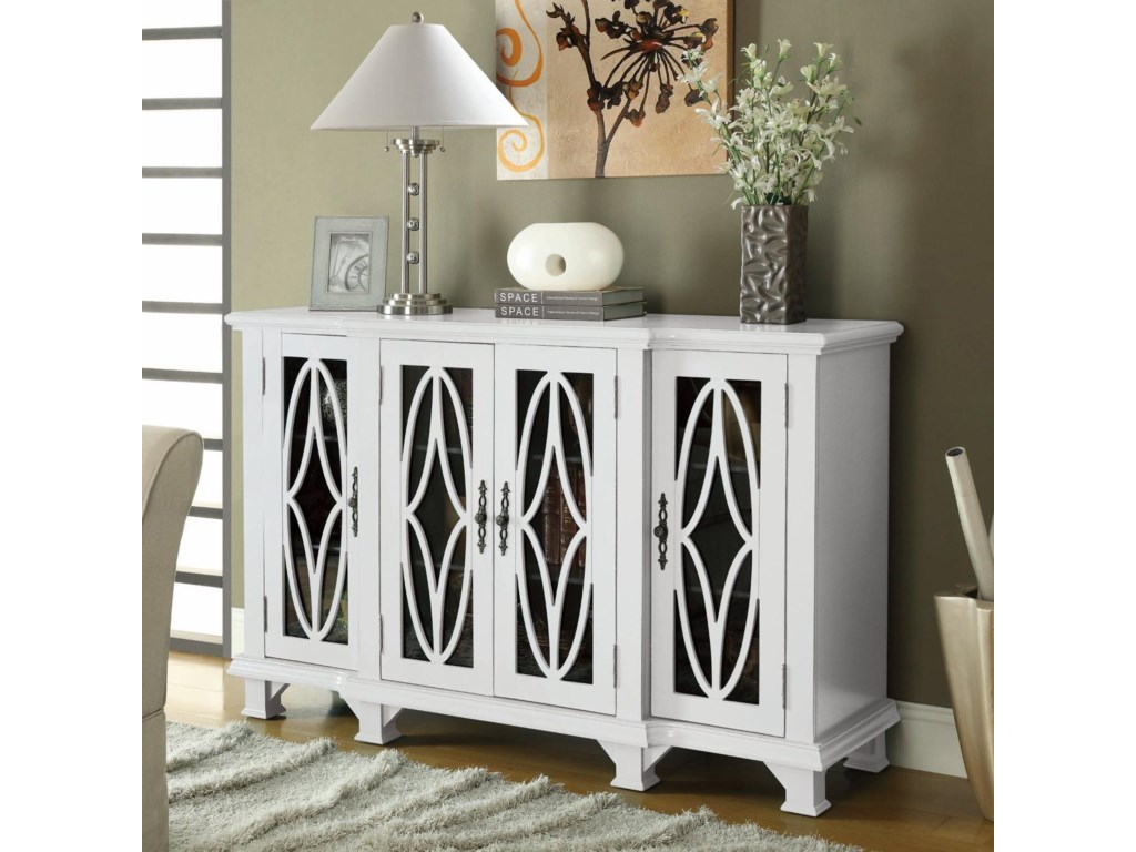Coaster Accent Cabinets 950265 Large White Cabinet With 4 Glass