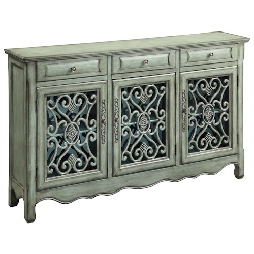 Coaster Accent Cabinets Traditional Accent Cabinet in Antique Green Finish