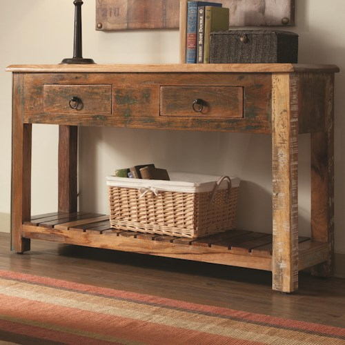 Coaster Accent Cabinets Rustic Console Table w/ Drawers