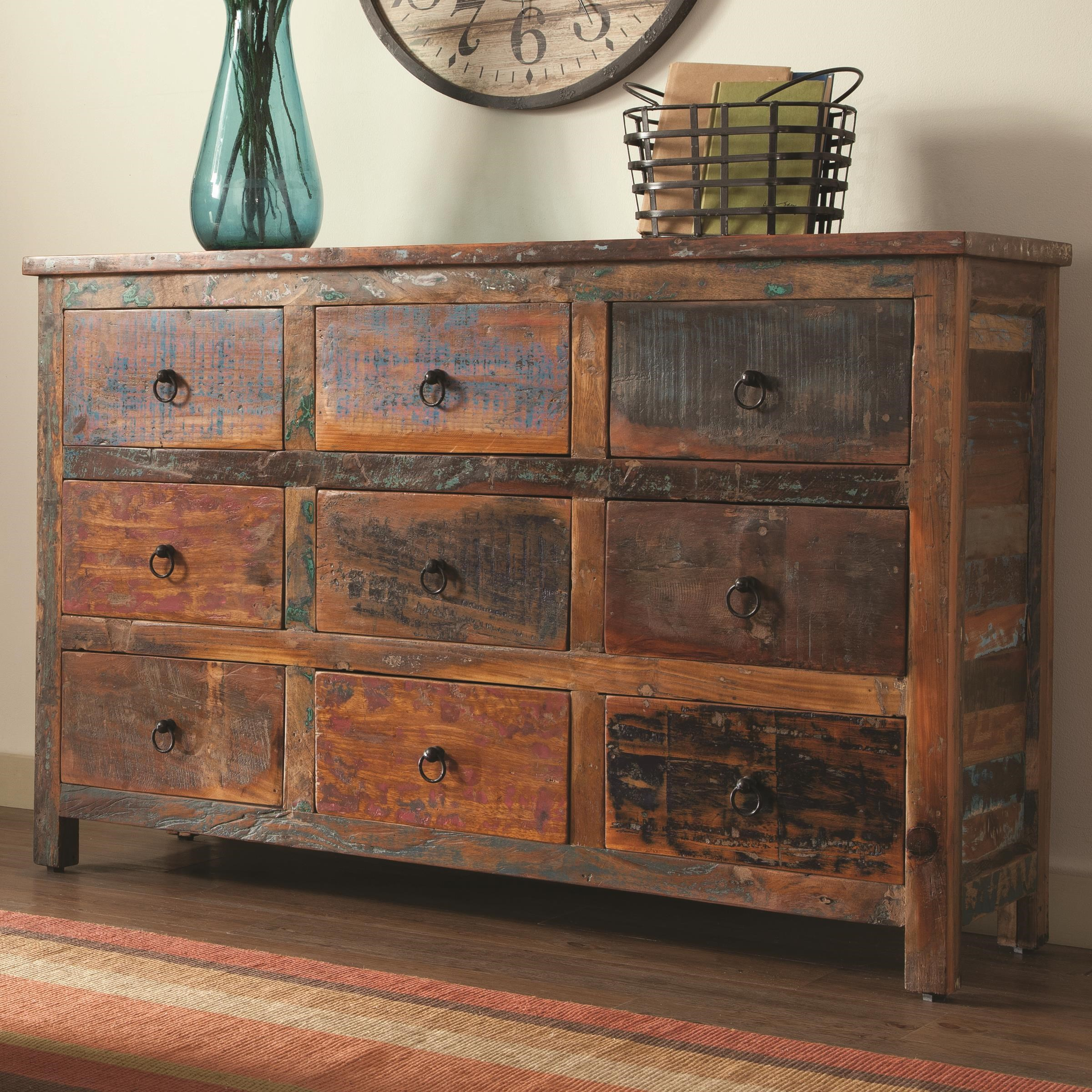 coaster accent cabinets 9 drawer rustic cabinet prime brothers furniture accent chests