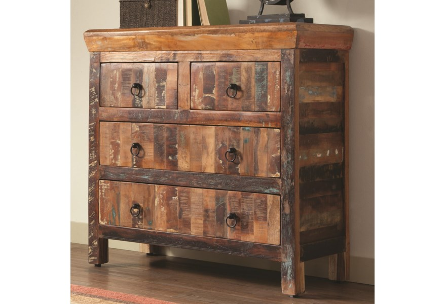 Accent Cabinets 4 Drawer Reclaimed Wood Cabinet By Coaster At Dunk Bright Furniture