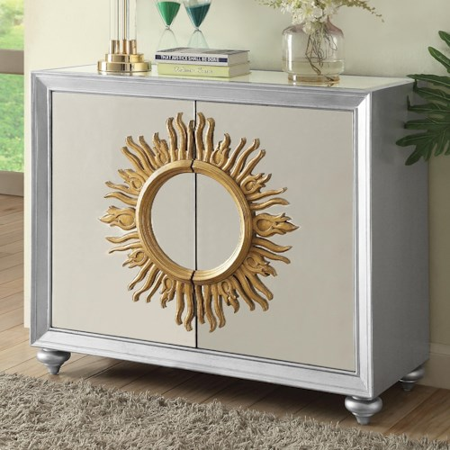 Coaster Accent Cabinets Mirrored Accent Cabinet with Sun Design