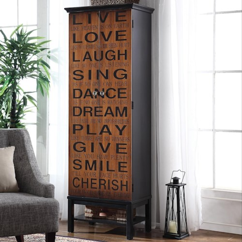 Coaster Accent Cabinets Tall Accent Cabinet with Positive Words