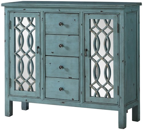 Coaster Accent Cabinets Antique Blue Accent Table with Inlay Door Design