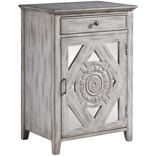 Coaster Accent Cabinets Distressed Grey Accent Cabinet with Ornate Door