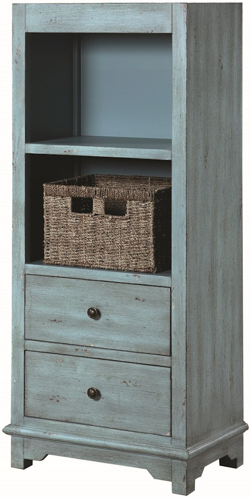 Coaster Accent Cabinets Rustic Blue Accent Cabinet with Woven Basket