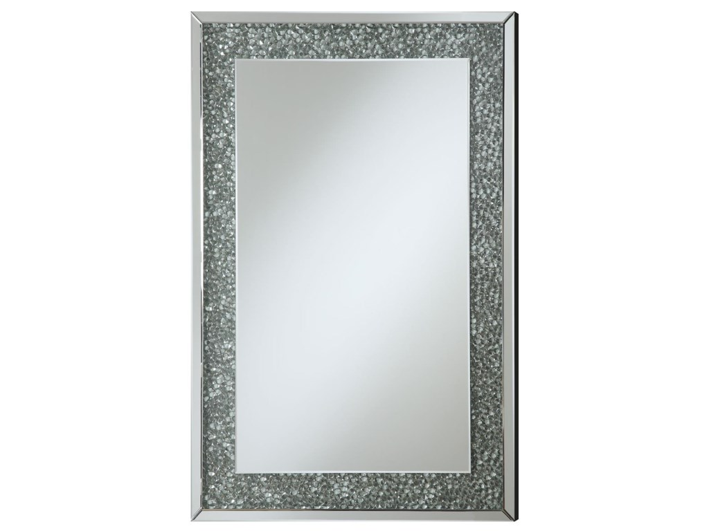 Coaster Accent Mirrors 901589 Mirror with Mirrored Frame and Pebble ...