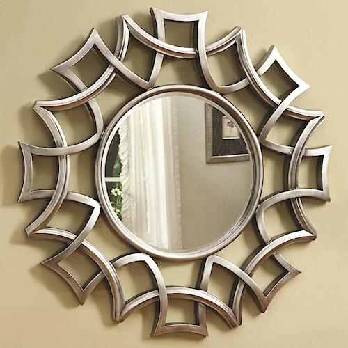Coaster Accent Mirrors Starburst Accent Mirror in Silver Finish