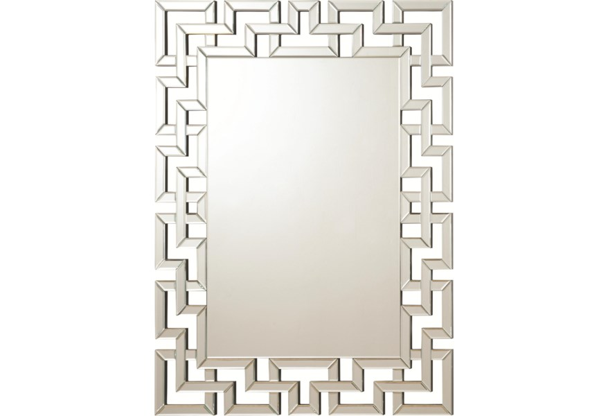 Coaster Accent Mirrors Frameless Greek Key Mirror Value City Furniture Wall Mirrors