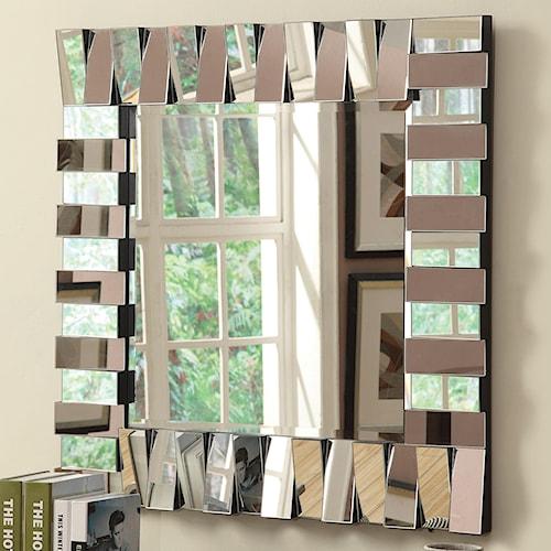 Coaster Accent Mirrors Contemporary Square Wall Mirror in Silver Finish