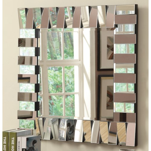 Coaster Accent Mirrors Contemporary Square Wall Mirror in Silver Finish