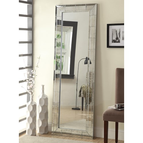 Coaster Accent Mirrors Floor Mirror with Antique Silver Finish Frame