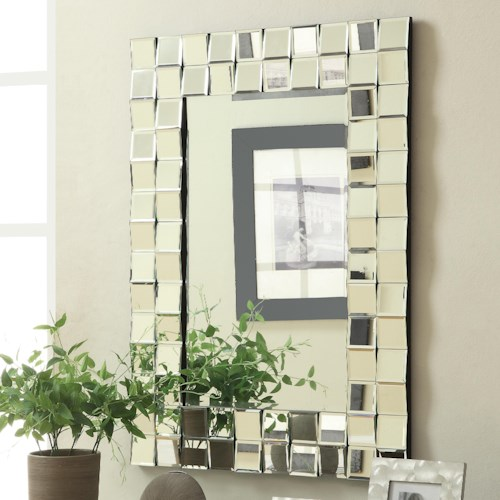 Coaster Accent Mirrors Contemporary Rectangular Wall Mirror in Silver Finish