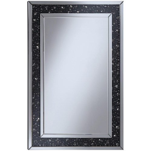 Coaster Accent Mirrors Wall Mirror with Black Jewel Frame