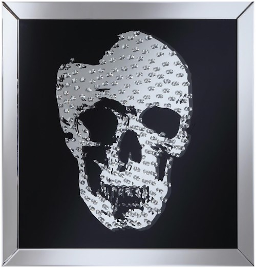 Coaster Accent Mirrors Wall Mirror with Jeweled Skull