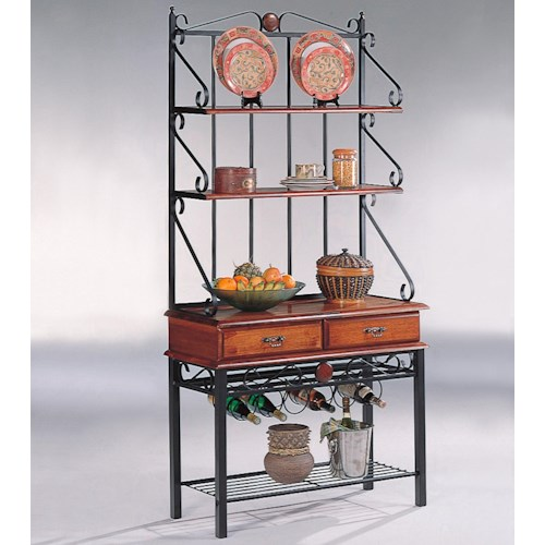 Coaster Accent Racks 3 Shelf Kitchen Cabinet with Wine Rack