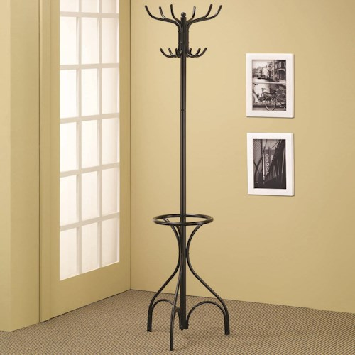 Coaster Accent Racks Black Metal Coat Rack with Umbrella Holder