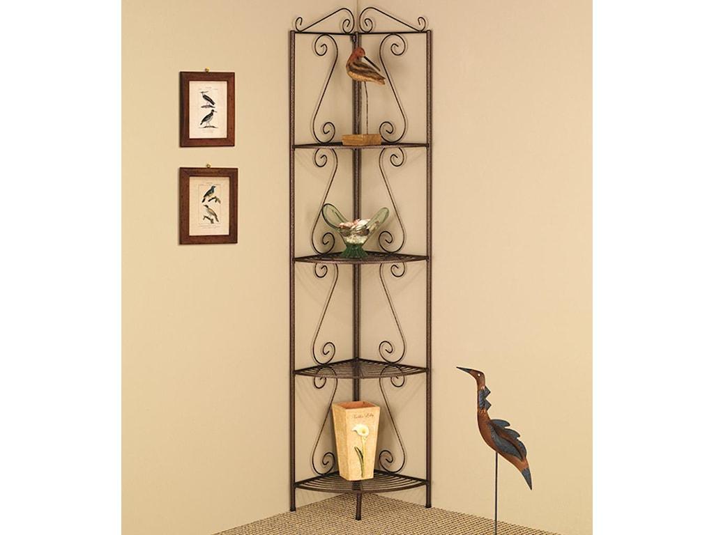 Coaster Accent Racks 910035 Copper Corner Shelf with Decorative ...