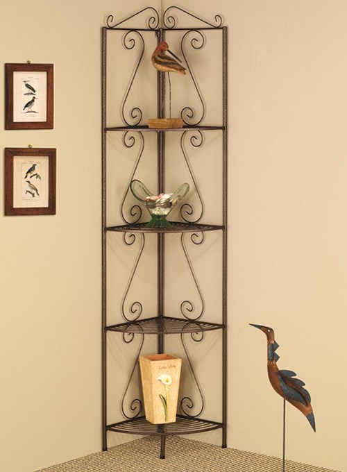 Coaster Accent Racks Copper Corner Shelf with Decorative Scrolls