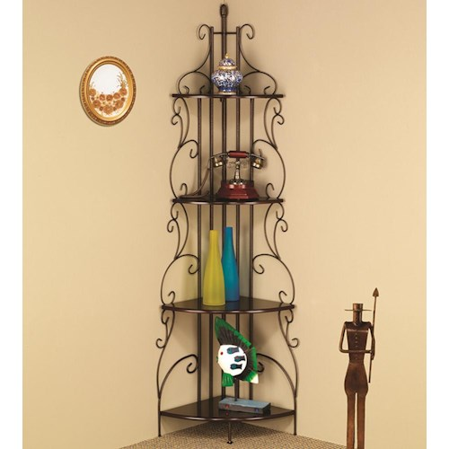 Coaster Accent Racks Copper Finished Corner Rack with 4 Shelves