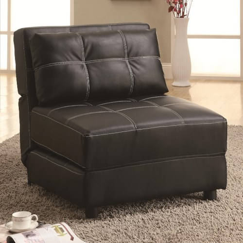 Coaster Accent Seating Contemporary Armless Lounge Chair/Sofa Bed