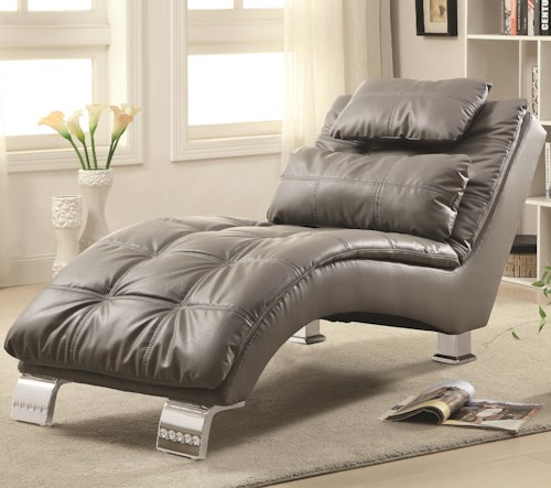 Coaster Accent Seating Padded and Upholstered Chaise with Metal Legs