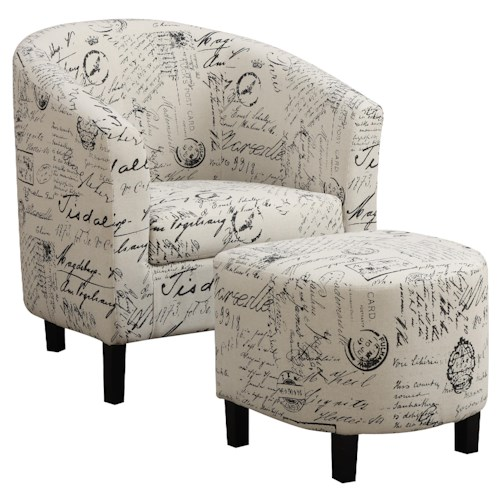 Coaster Accent Seating Two-Piece Accent Chair and Ottoman Set in French Script Pattern