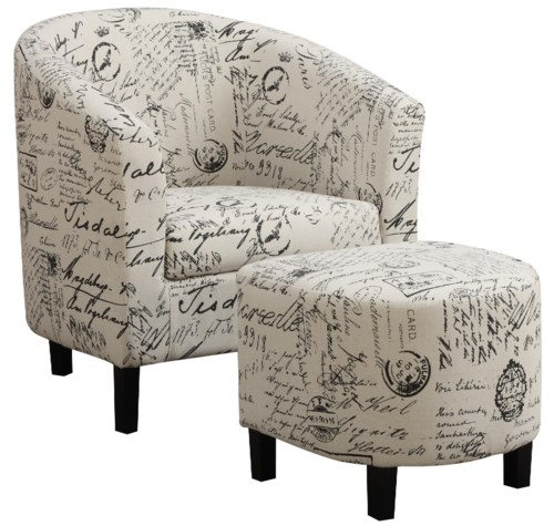 Beautiful Coaster Accent Seating Two Piece Accent Chair and Ottoman Set in French Script Pattern Lovely - New accent chair and ottoman set Idea