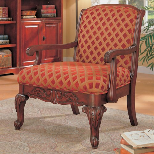 Coaster Accent Seating Upholstered Chair with Wood Armrests