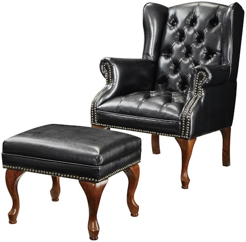 Coaster Accent Seating Traditional Wing Back Button Tufted Chair and Ottoman