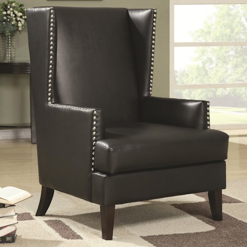 Coaster Accent Seating Wing Back Accent Chair in Transitional Furniture Style with Nail Head Trim