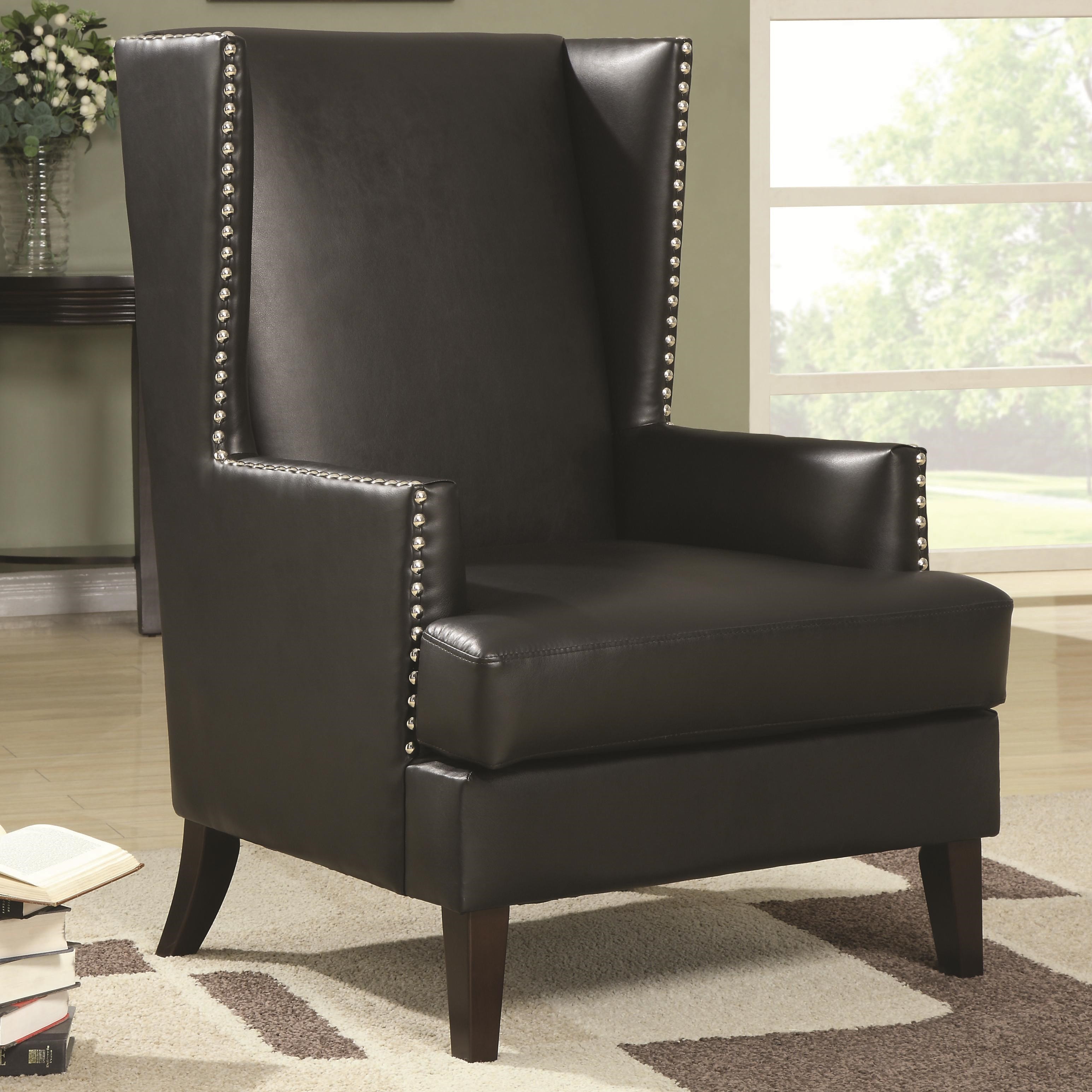 Charmant Coaster Accent Seating Wing Back Accent Chair In Transitional Furniture  Style With Nail Head Trim