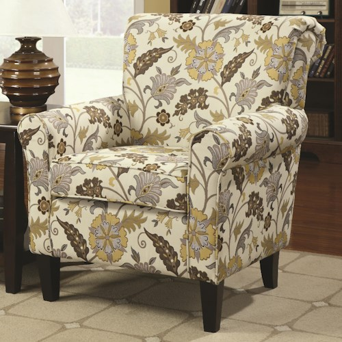 Coaster Accent Seating Smooth and Simple Retro Styled Accent Chair with Decorative Rolled Arms