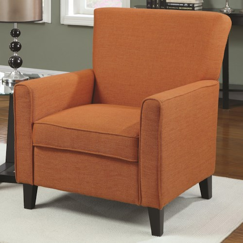 Coaster Accent Seating Orange Accent Chair with Contemporary Furniture Style