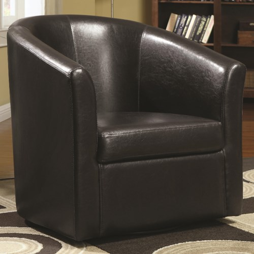 Coaster Accent Seating Contemporary Styled Accent Swivel Chair in Brown Vinyl Upholstery