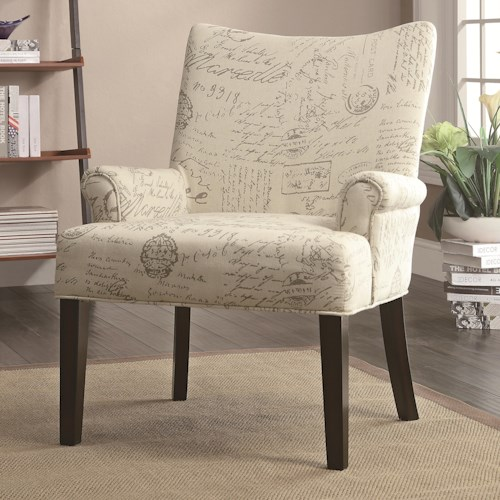 Coaster Accent Seating French Script Pattern Accent Chair