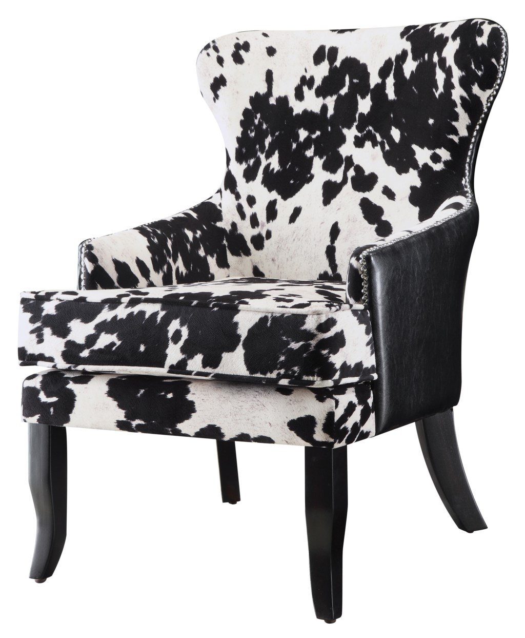 Accent seating cowhide print leatherette accent chair by coaster