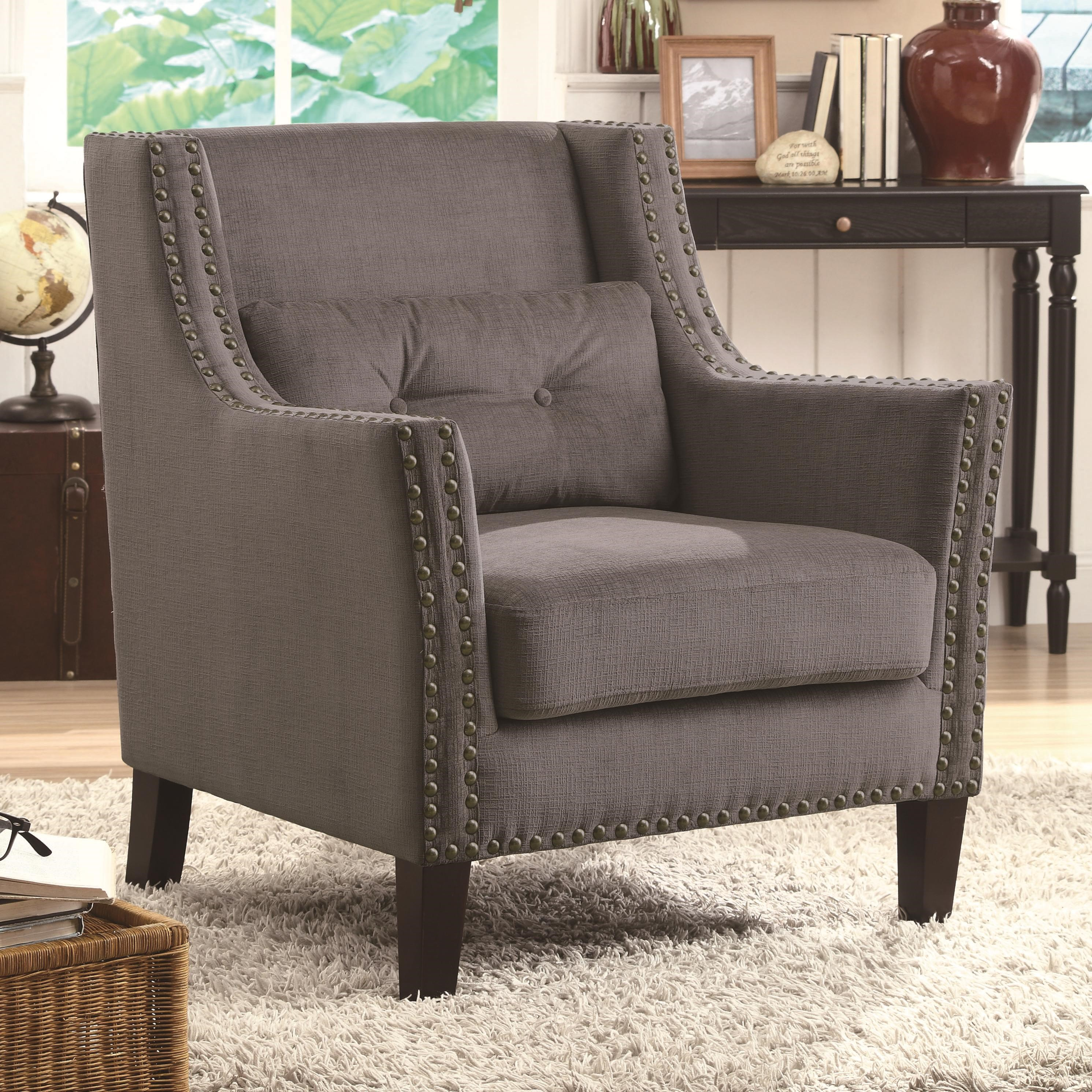 Incroyable Coaster Accent Seating Accent Chair With Nailhead Trim And Accent Pillow