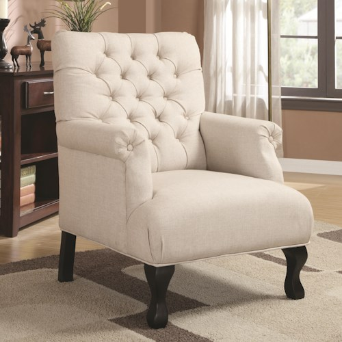 Coaster Accent Seating Traditional Button-Tufted Accent Chair