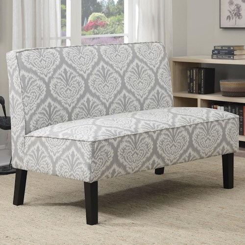 Coaster Accent Seating Settee with Gray Patterned Fabric