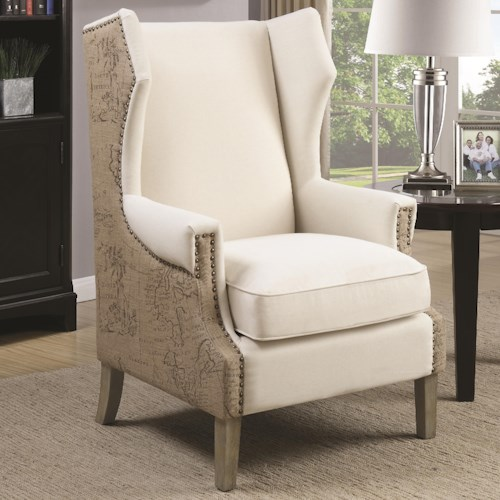 Coaster Accent Seating Accent Chair with Wing Back Design and Map Print