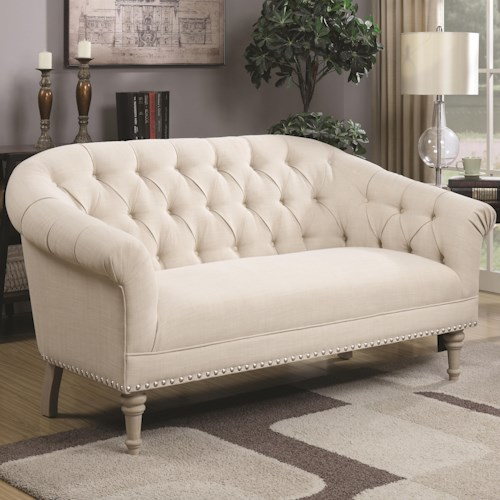 Coaster Accent Seating Traditional Settee with Tufting and Pleated Roll Arms