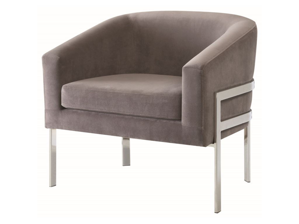 Accent seating contemporary accent chair in linen like fabric with exposed metal frame by coaster